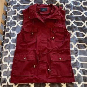 Burgundy lightweight vest with hood